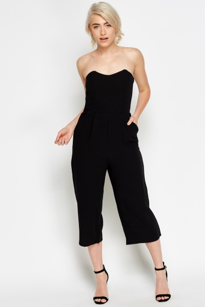 Sweetheart Bandeau Black Jumpsuit