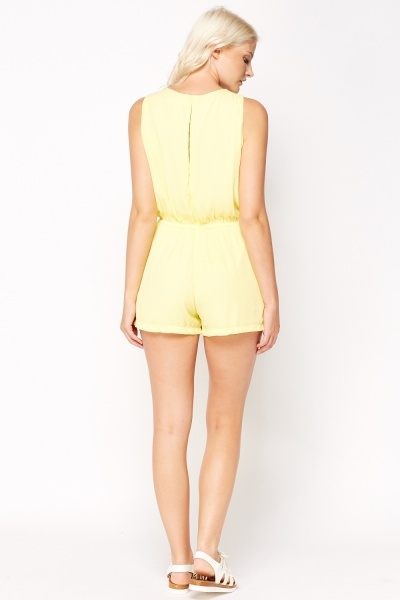 Bow And Pearl Encrusted Front Playsuit