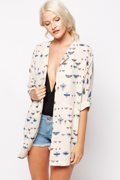 Butterfly Printed Lightweight Cover Up