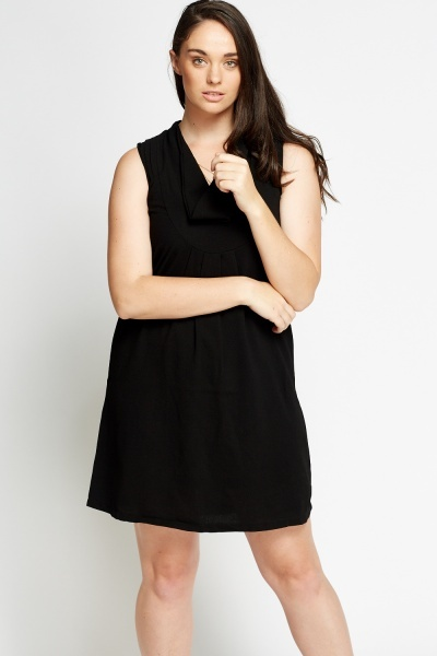 Cowl Neck Black Dress