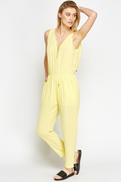 Lace Up Neck Jumpsuit