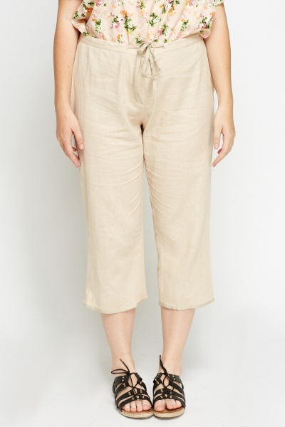 Linen Blend Cropped Culottes