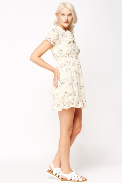 Mix Print Cream Dress
