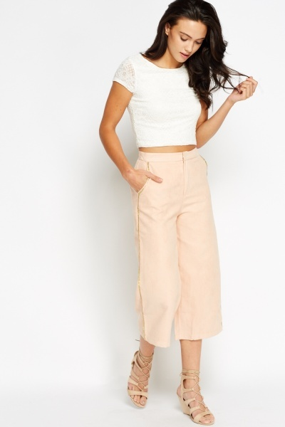 Sequin Side Cropped Trousers