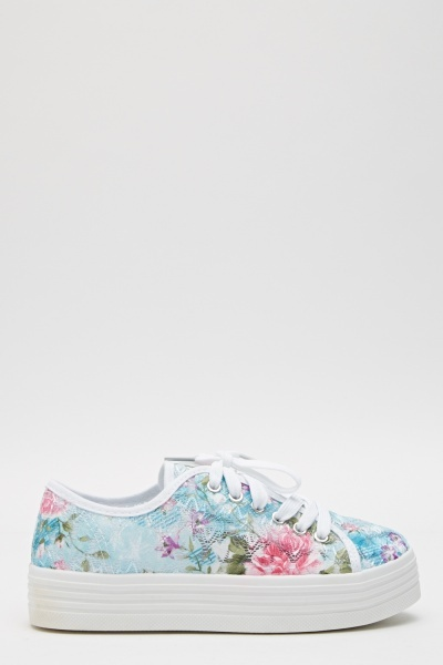 Mesh Floral Lace Up Flatforms