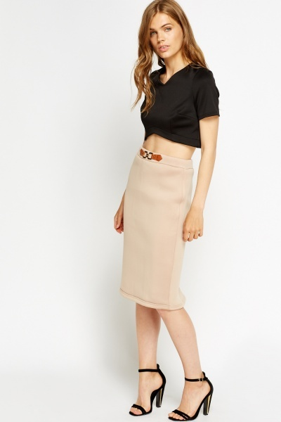 Buckle Detail Scuba Skirt