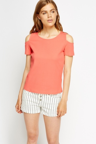 Cold Shoulder Ribbed Top