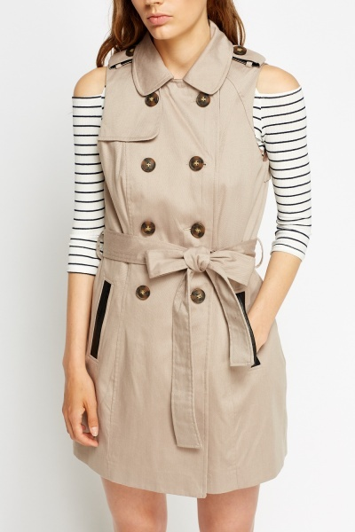 Faux Leather Trim Sleeveless Gilet Mac