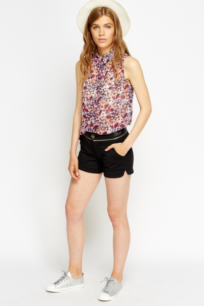 Faux Leather Zipped Waist Shorts