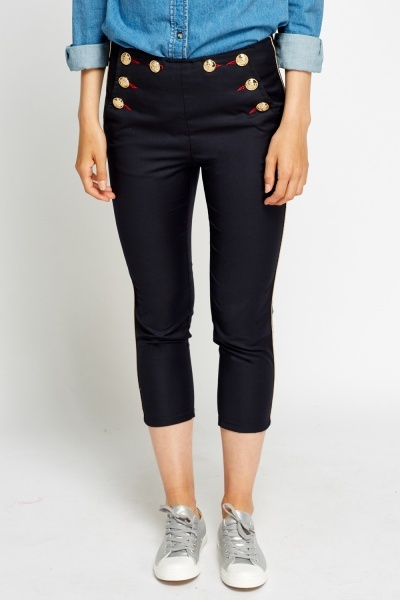 Military Style Cropped Trousers