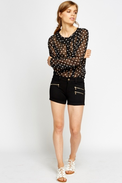Zip Side Detailed Shorts