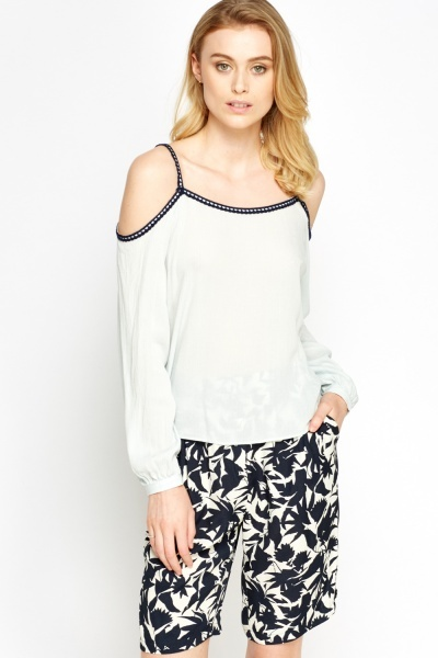 Contrast Trim Cold Shoulder Strap Top