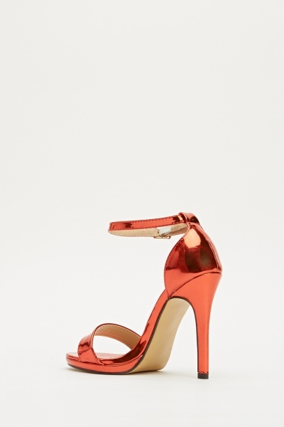 Metallic Red Barely There Sandal Heel