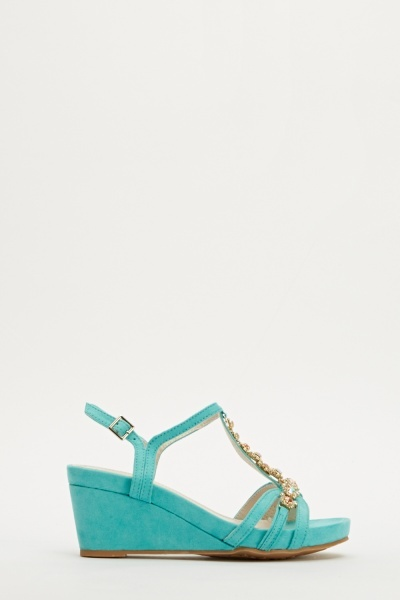 Suedette T-Bar Encrusted Wedge Sandals