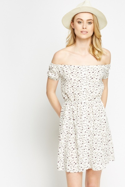 Off Shoulder White Printed Dress