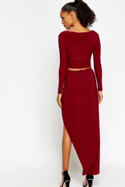 Wrap Crop Top And Midi Slit Skirt