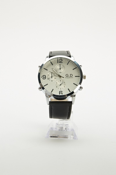 Black Faux Leather Strap Watch