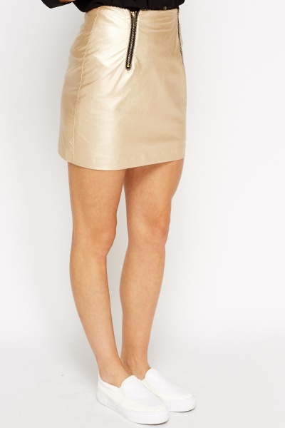 Metallic Faux Leather Zipped Mini Skirt