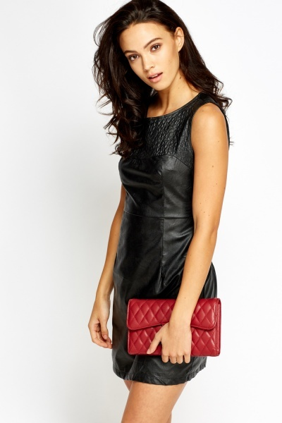 Quilted Shoulder Faux Leather Dress