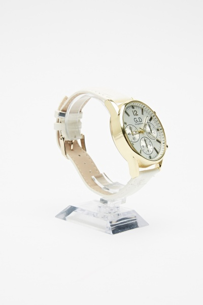 White Faux Leather Strap Watch