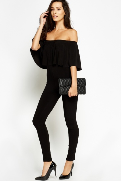 Black Off Shoulder Flare Jumpsuit