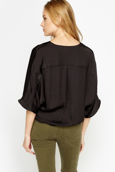 Black Silk Feel Wrap Front Top