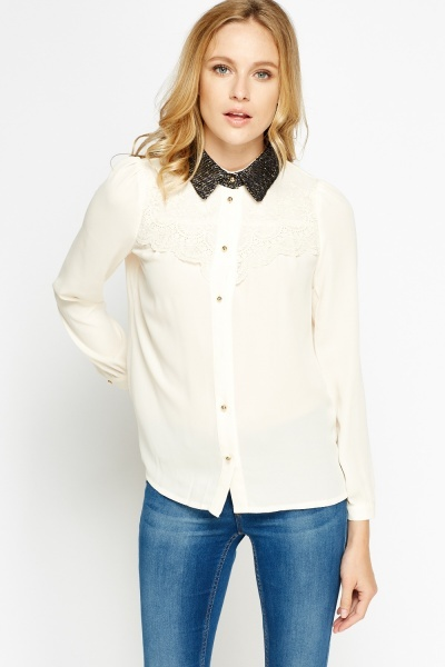 Lace Front Twill Collard Blouse