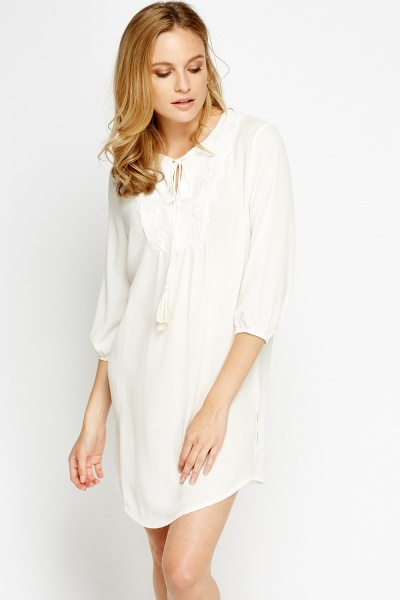 Lace Trim Neck Mini Shift Dress