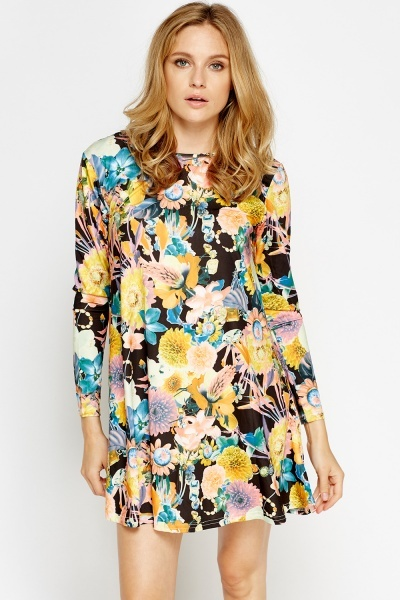 Multi Printed Mini Swing Dress