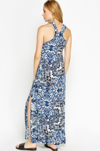 Tapestry Side Slit Maxi Dress