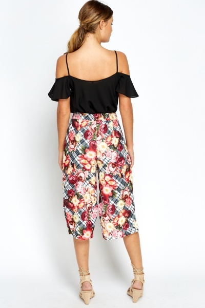 Checked Floral Culottes
