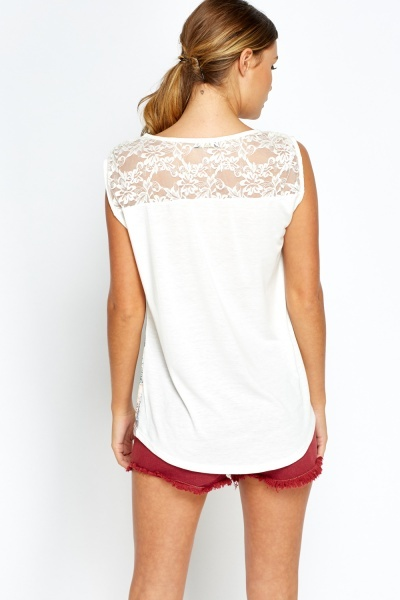 Mesh Back Girl Printed Top