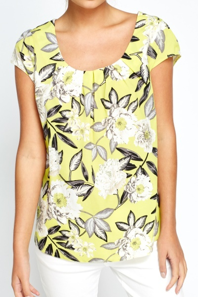 Pleated Neck Neon Lime Top
