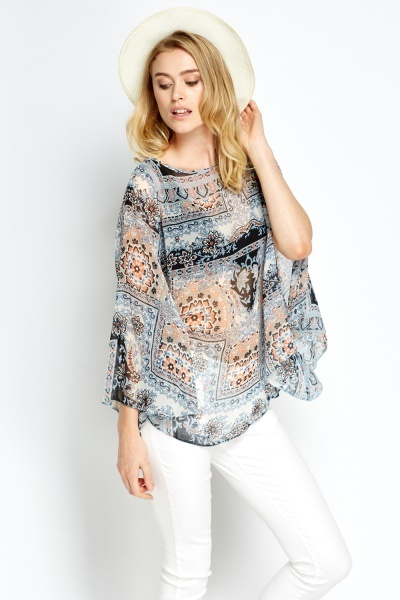 Blue Printed Beach Coverup Top
