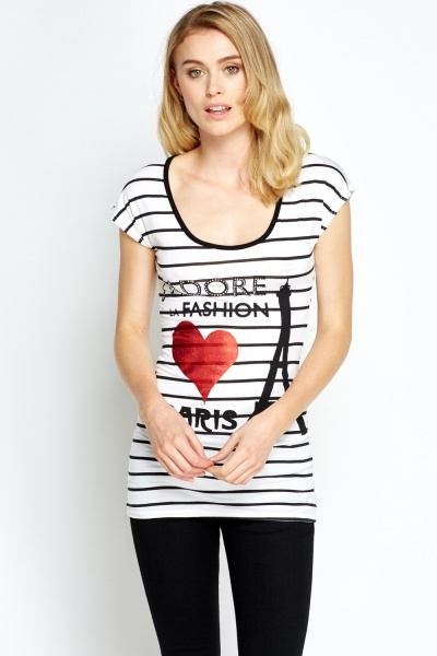 Striped Printed T-Shirt