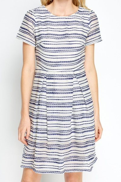 Mesh Striped Skater Dress