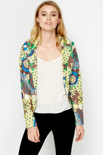 Mixed Print Yellow Blazer