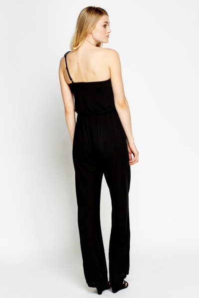 One Shoulder Embellished Jumpsuit