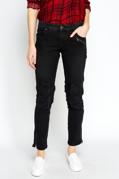Patchwork Black Jeans