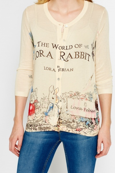 Rabbit Print Knit Cardigan