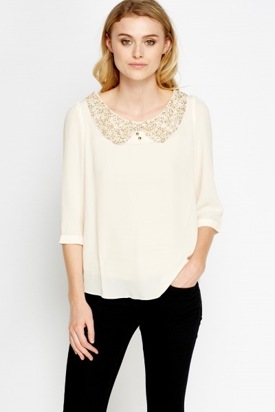 Sequin Mesh Collar Blouse