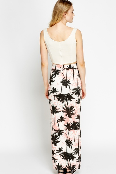 Slit Side Printed Maxi Skirt