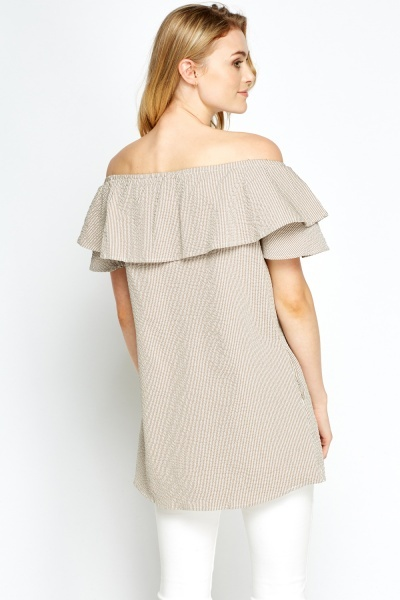 Textured Off Shoulder Long Top