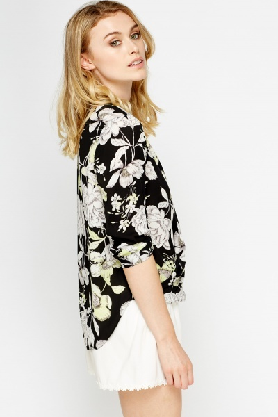 Wrap Floral Black Blouse