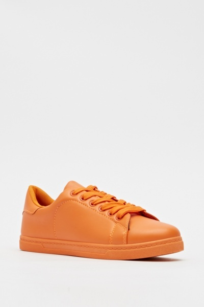 Basic Faux Leather Trainers
