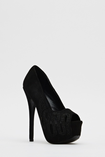Cut Out Encrusted Suedette Heels