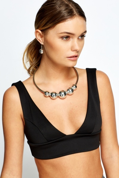 Diamante Ball Round Necklace And Earring Set