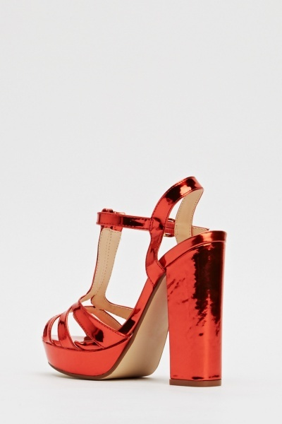 Hi-Shine Open Toe Red Sandals