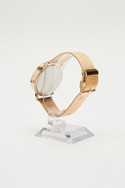 Large Face Bronze Strap Watch