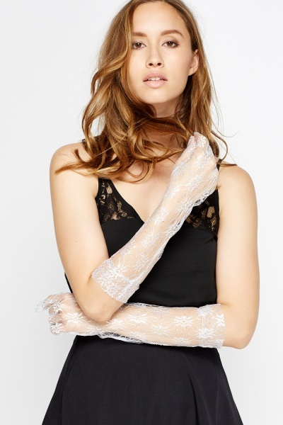 Metallic Lace long Gloves